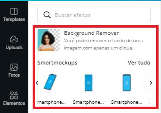 Selecionar efeito smartmockups